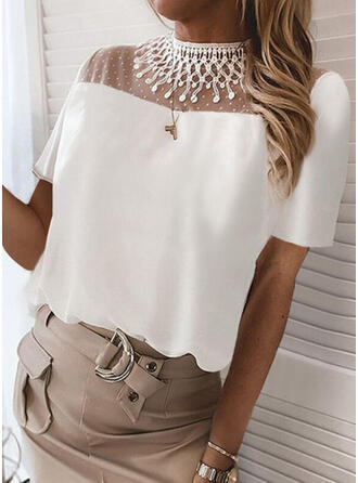 Solid Lace Stand collar Short Sleeves Elegant Blouses