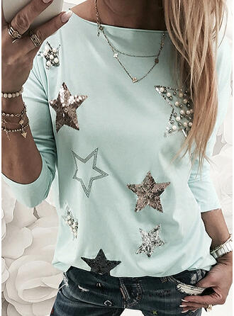Sequins Beaded Round Neck Long Sleeves Casual T-shirts