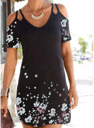 Print/Floral Short Sleeves Sheath Above Knee Casual/Vacation Dresses