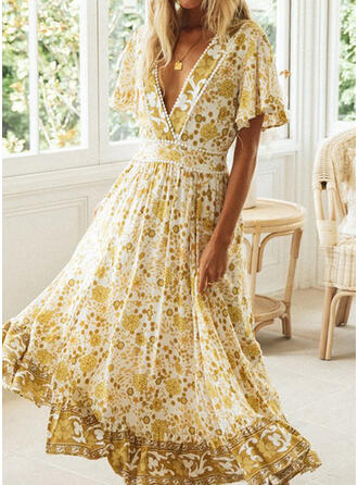 Print Short Sleeves/Flare Sleeves A-line Skater Casual/Vacation Maxi Dresses