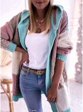 Color Block Cable-knit Hooded Casual Cardigan