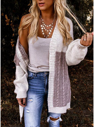 Polyester Long Sleeves Color Block Cable-knit Cardigans