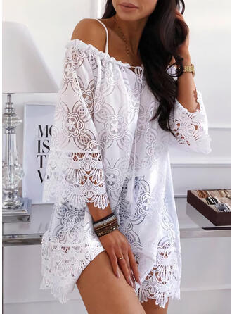 Solid 3/4 Sleeves/Flare Sleeves Shift Above Knee Casual/Vacation Tunic Dresses