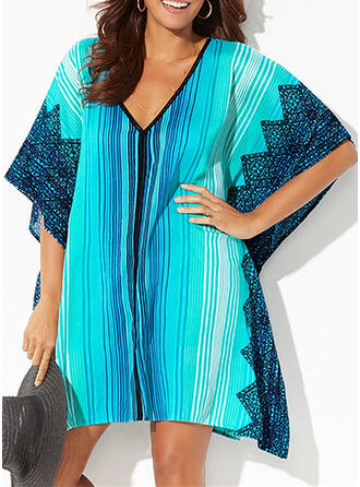 Striped Strapless Elegant Casual Vacation Cover-ups Swimsuits