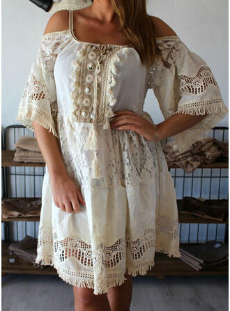 Lace/Solid 3/4 Sleeves/Flare Sleeves Shift Above Knee Vacation Tunic Dresses