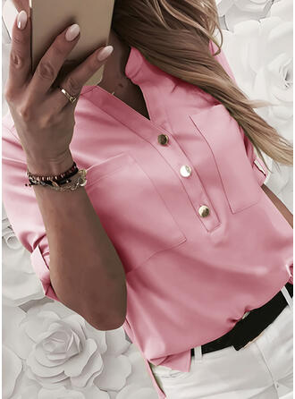 Solid V-Neck 1/2 Sleeves Button Up Casual Blouses