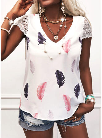Print Feather Lace V-Neck Short Sleeves Cap Sleeve Casual Blouses
