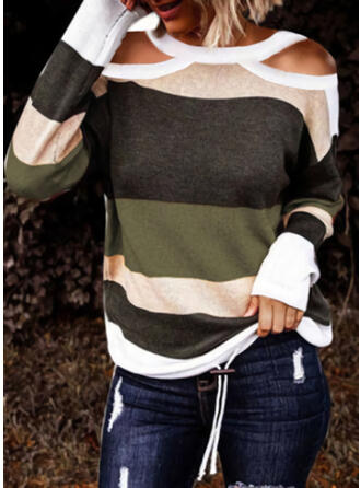 Color Block Cold Shoulder Casual Knit Tops