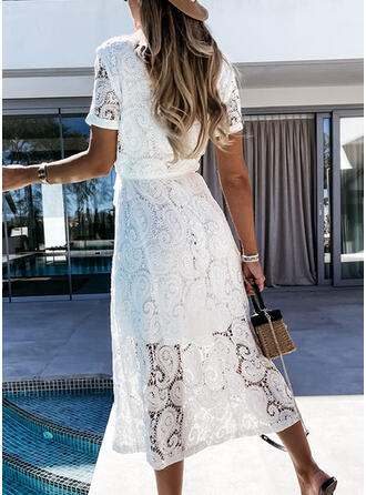 Lace/Solid Short Sleeves Shift Shirt Casual/Vacation Midi Dresses