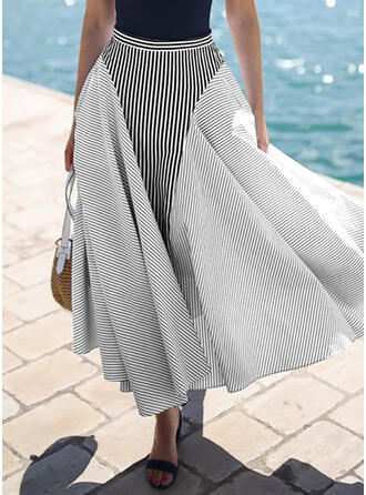 Polyester Striped Floor Length A-Line Skirts