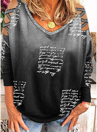 Print Gradient Letter Cold Shoulder Long Sleeves Casual Blouses