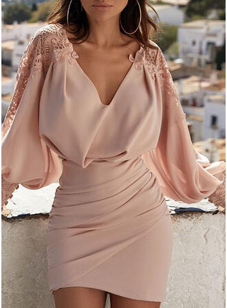 Lace/Solid/Backless Long Sleeves/Lantern Sleeve Bodycon Above Knee Sexy/Party Dresses