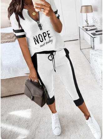 Print Letter Casual Plus Size Drawstring Two-Piece Outfits