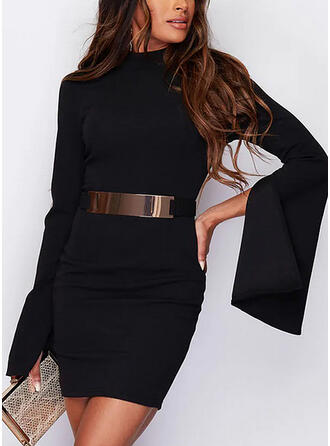 Solid/Backless Long Sleeves Bodycon Above Knee Little Black/Elegant Dresses