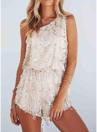 Sequins One Shoulder Sleeveless Party Romper