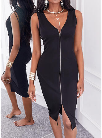 Solid Sleeveless Bodycon Knee Length Little Black/Casual Pencil Dresses
