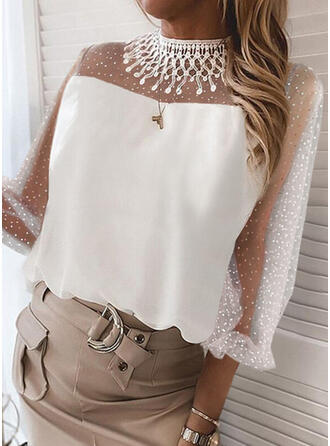 Solid Chiffon Lace Stand collar 3/4 Sleeves Elegant Blouses
