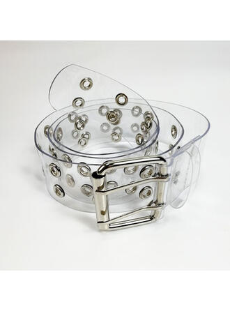 Elegant Artistic Dainty Square & Round Buckle PVC With Breathable Clear Eyelet Women's Clear Belt