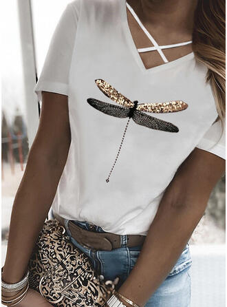 Animal Print Sequins V-Neck Short Sleeves Casual Blouses