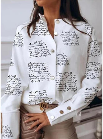 Print Letter Stand collar Long Sleeves Casual Blouses