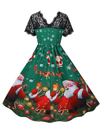 Lace/Print Short Sleeves A-line Knee Length Christmas/Party Skater Dresses