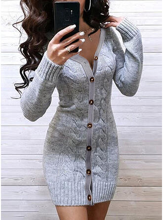 Solid Cable-knit V-Neck Casual Long Tight Sweater Dress