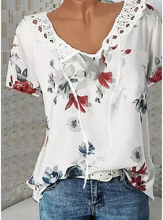 Print Floral Lace Lace-up V-Neck Short Sleeves Casual Blouses