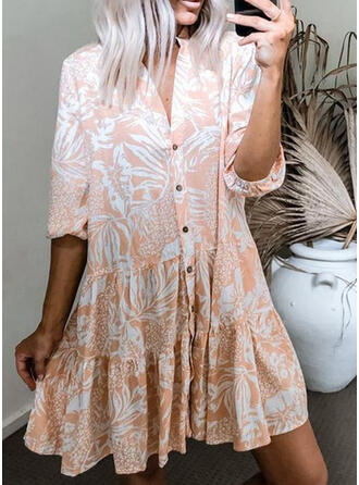Print 3/4 Sleeves Shift Knee Length Casual Tunic Dresses