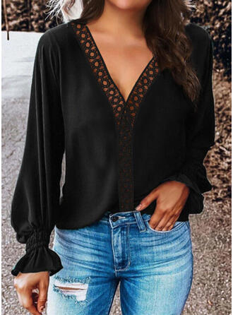 Solid Lace V-Neck Long Sleeves Lantern Sleeve Casual Blouses