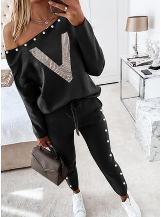 Print Long Casual Sporty Plus Size Drawstring Suits