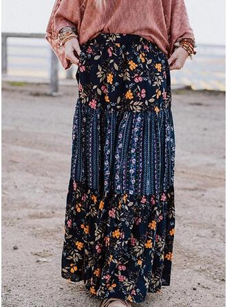 Cotton Blends Print Maxi Pleated Skirts