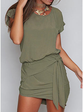 Solid Short Sleeves Bodycon Asymmetrical Little Black/Casual Dresses