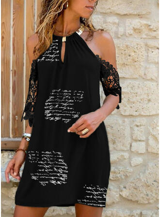 Lace/Print 1/2 Sleeves Shift Above Knee Casual Tunic Dresses