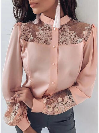 Solid Lace Stand collar Lantern Sleeve Long Sleeves Button Up Casual Elegant Blouses