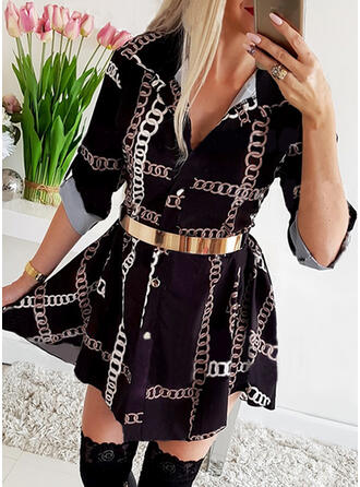 Print Long Sleeves A-line Above Knee Casual Shirt/Skater Dresses