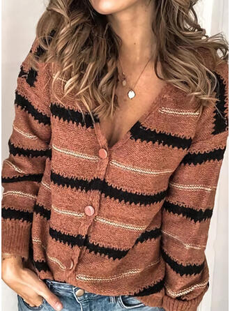 Cotton Blends Long Sleeves Striped Cardigans