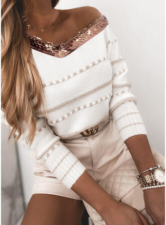 Striped Sequins V-Neck Casual Sweaters