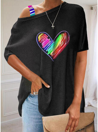 Print Heart One Shoulder Short Sleeves Casual Blouses