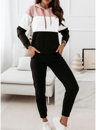 Color Block Casual Plus Size Sweatshirts & Two-Piece Outfits Set