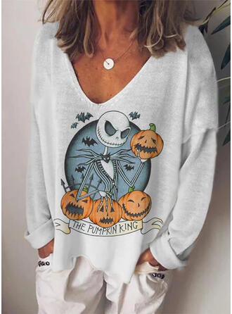 Halloween Print Knit V-Neck Long Sleeves Casual Blouses