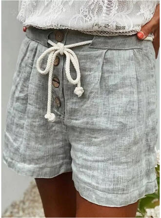 Solid Above Knee Casual Vacation Plus Size Shirred Drawstring Button Pants Shorts