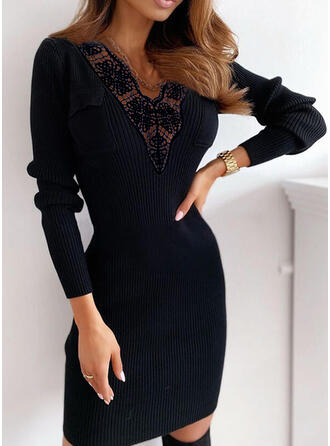 Lace/Solid Long Sleeves Bodycon Above Knee Little Black/Elegant Sweater Dresses