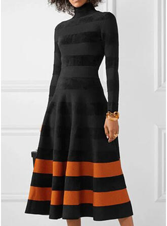 Color Block Long Sleeves A-line Skater Casual Midi Dresses