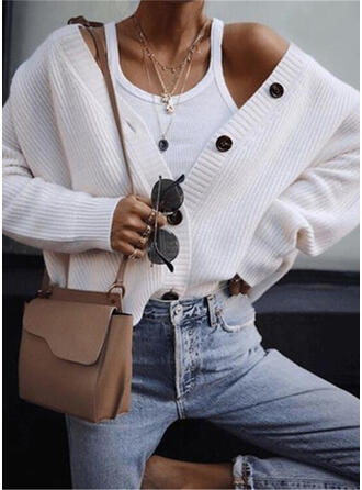 Cotton Long Sleeves Solid Cardigans