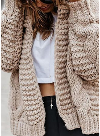Acrylic Long Sleeves Solid Cable-knit Chunky knit