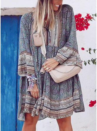 Print Long Sleeves Shift Knee Length Casual/Boho/Vacation Tunic Dresses