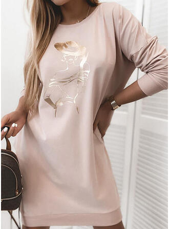 Print Long Sleeves Shift Above Knee Casual T-shirt Dresses