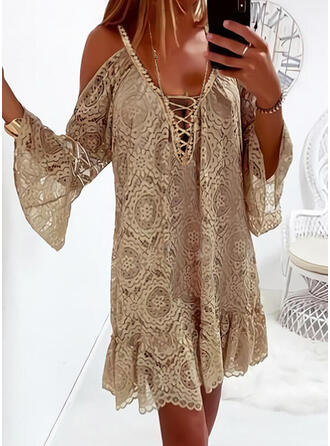 Print/Lace-up Long Sleeves/Flare Sleeves Shift Above Knee Casual/Vacation Tunic Dresses