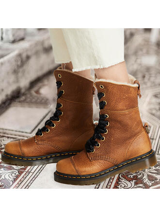 Women's PU Chunky Heel Platform Boots Martin Boots With Lace-up Solid Color shoes