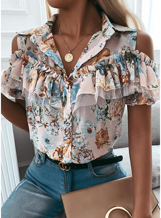 Print Floral Cold Shoulder Short Sleeves Button Up Casual Shirt Blouses